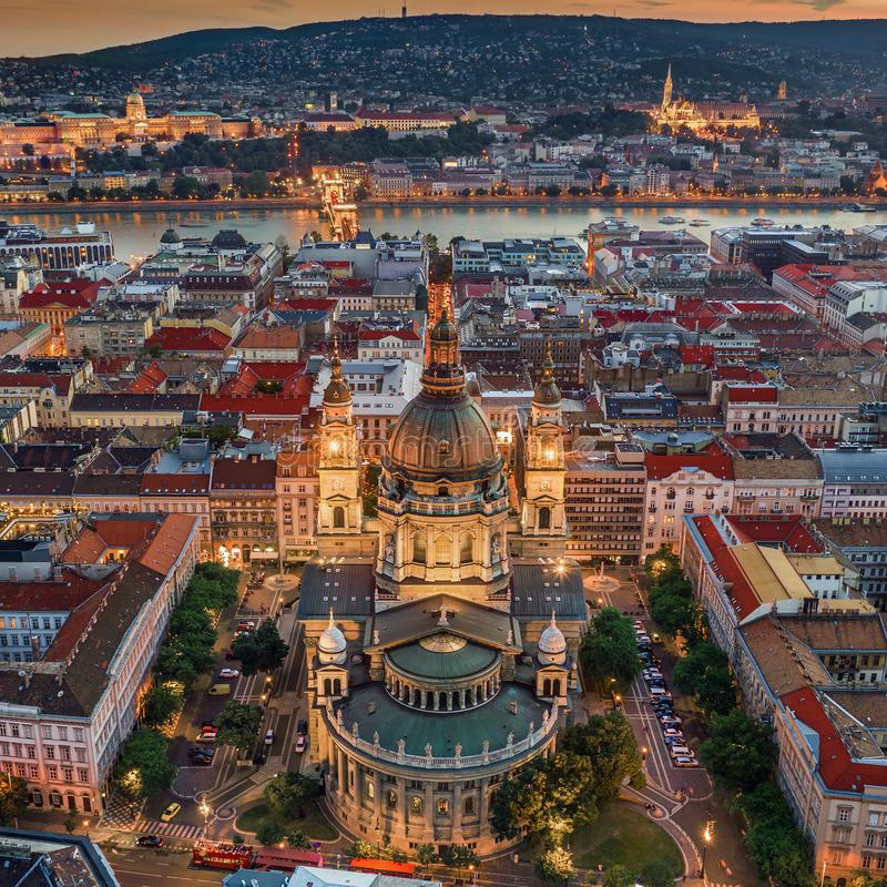 Budapest, Hungary - Aerial drone view of the famous illuminated St.Stephen`s Basilica Szent Istvan Bazilika at blue hour stock photography