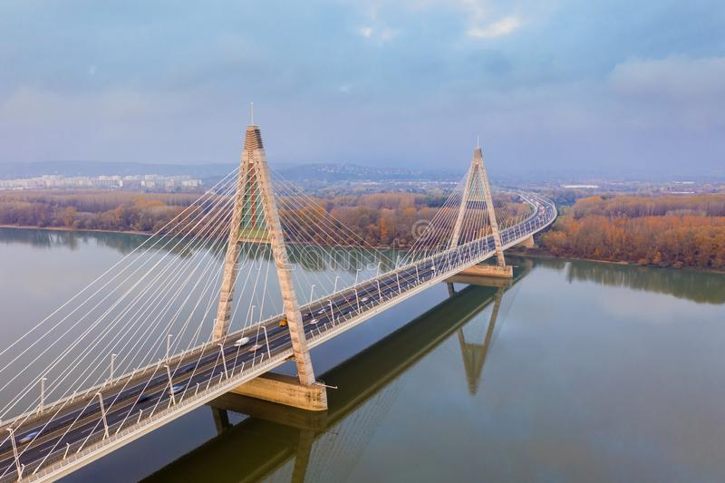 Budapest, Hungary - Aerial drone view of Megyeri Bridge, the biggest bridge of Budapest. On an autumn morning royalty free stock photography