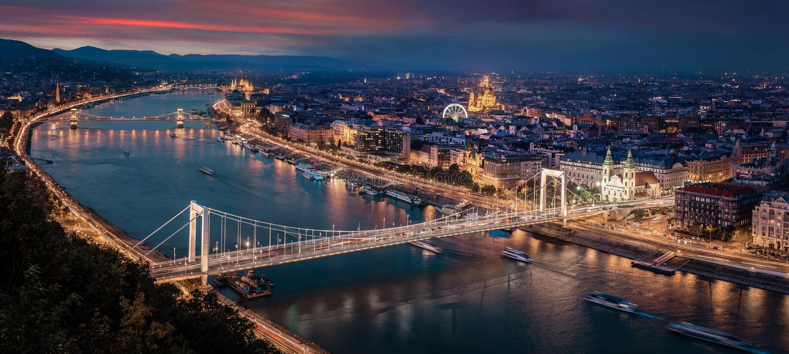 Budapest, Hungary - Aerial panoramic skyline of Budapest at sunset. This view includes Elisabeth Bridge Erzsebet Hid. Parliament, Szechenyi Chain Bridge, St stock photos