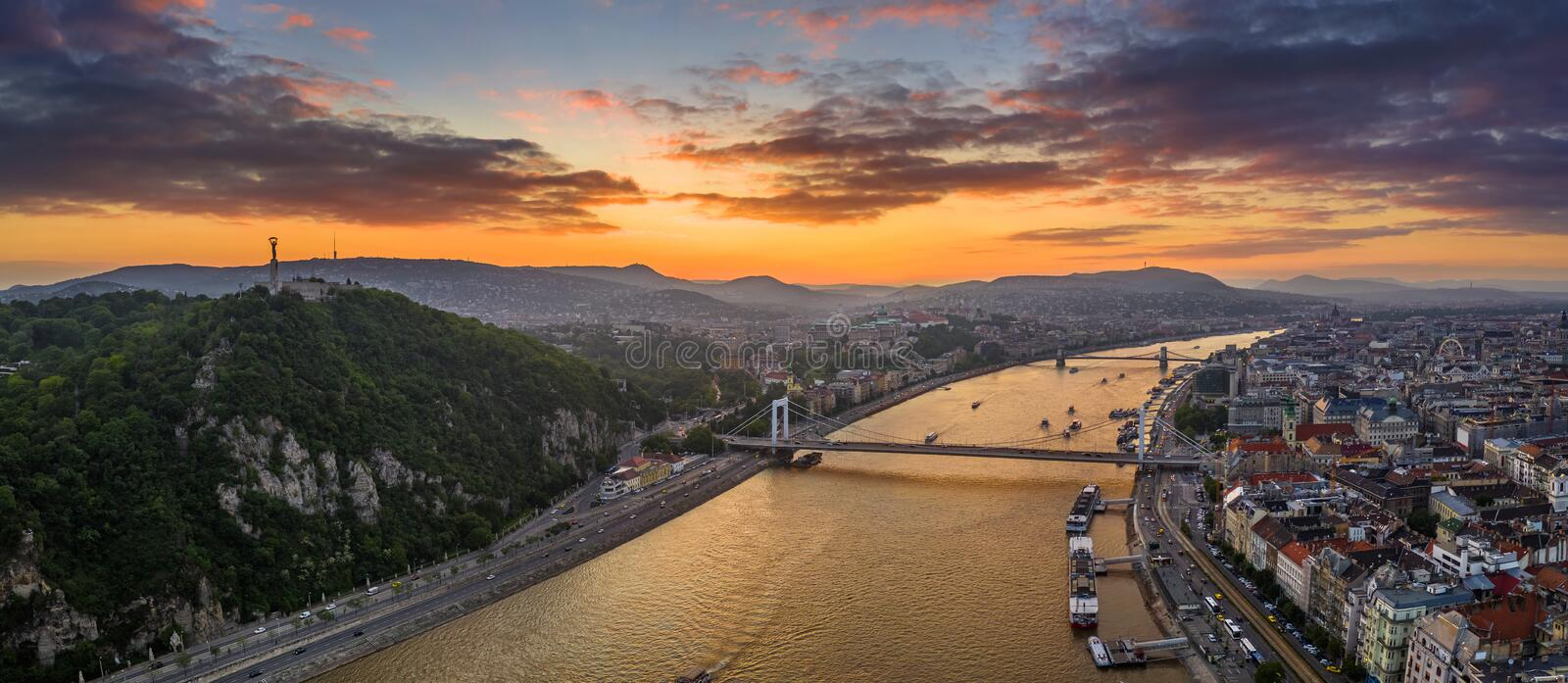Budapest, Hungary - Aerial panoramic skyline view of Budapest with Elisabeth Bridge, Szechenyi Chain Bridge, Buda Castle. Royal Palace, Gellert hill and Statue stock photo