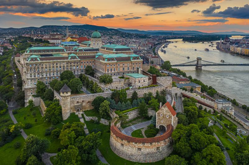Budapest, Hungary - Aerial skyline view of Buda Castle Royal Palace with Matthias Church, Szechenyi Chain Bridge and Parliament. Building with a beautiful royalty free stock images