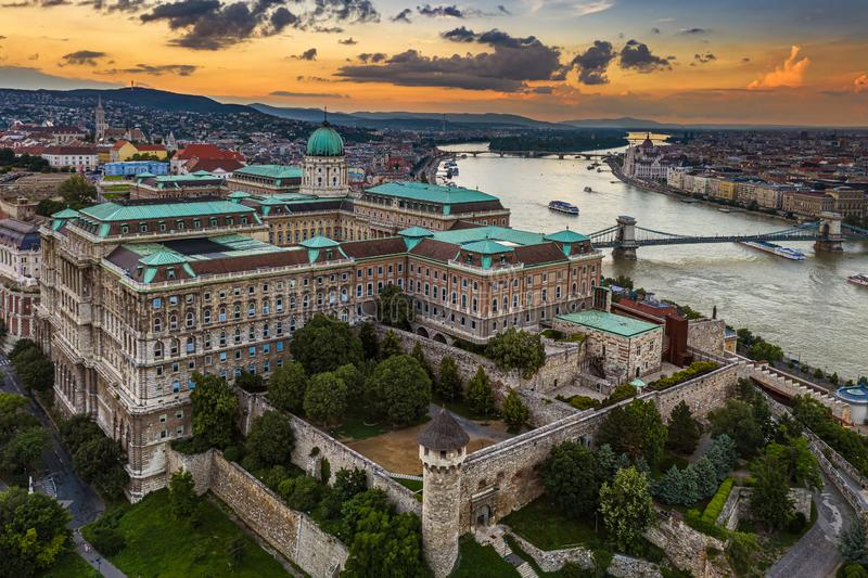 Budapest, Hungary - Aerial skyline view of Buda Castle Royal Palace with Szechenyi Chain Bridge, Matthias Church and Parliament. Building with a beautiful stock photos