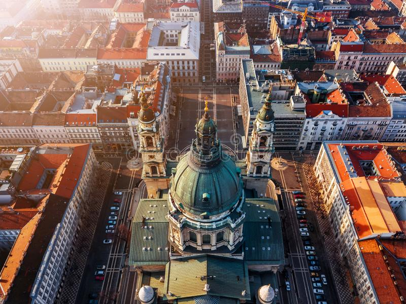 Budapest, Hungary - Aerial view of the beautiful St.Stephen`s Basilica Szent Istvan Bazilika. At sunset royalty free stock photos