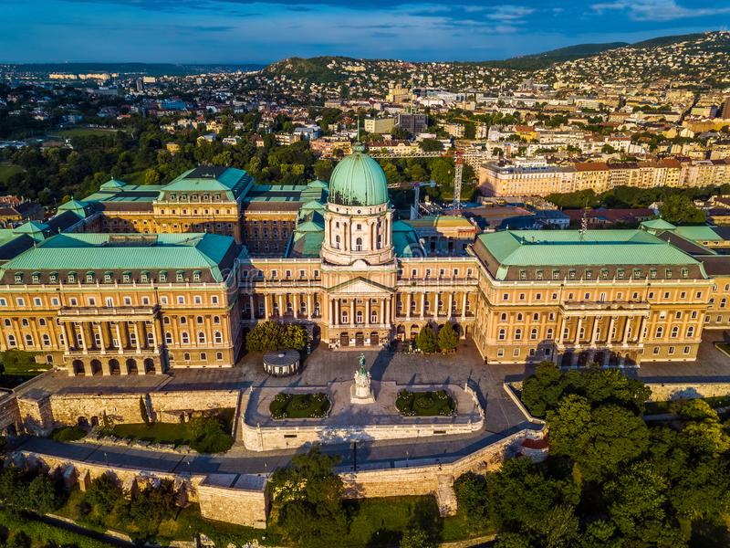 Budapest, Hungary - Aerial view of the famous Buda Castle Royal palace at sunrise with Buda side. And Buda Hills at background stock photos