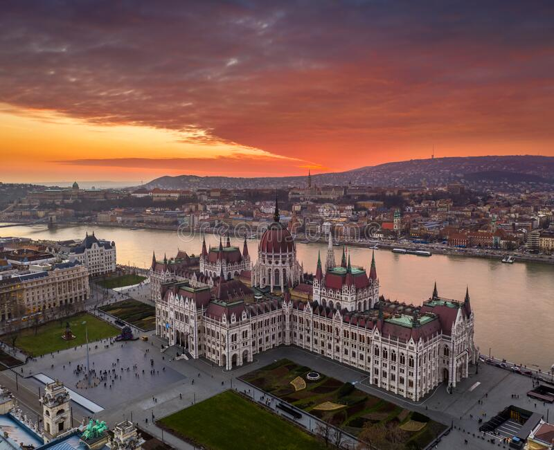Budapest, Hungary - Aerial view of the Hungarian Parliament building on a winter afternoon with a spectacular colorful sunset. Fisherman`s Bastion, Buda Castle royalty free stock photos