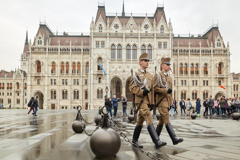 Budapest, Hungary - 17 April 2018: honor guard at the Hungarian parliament. royalty free stock images