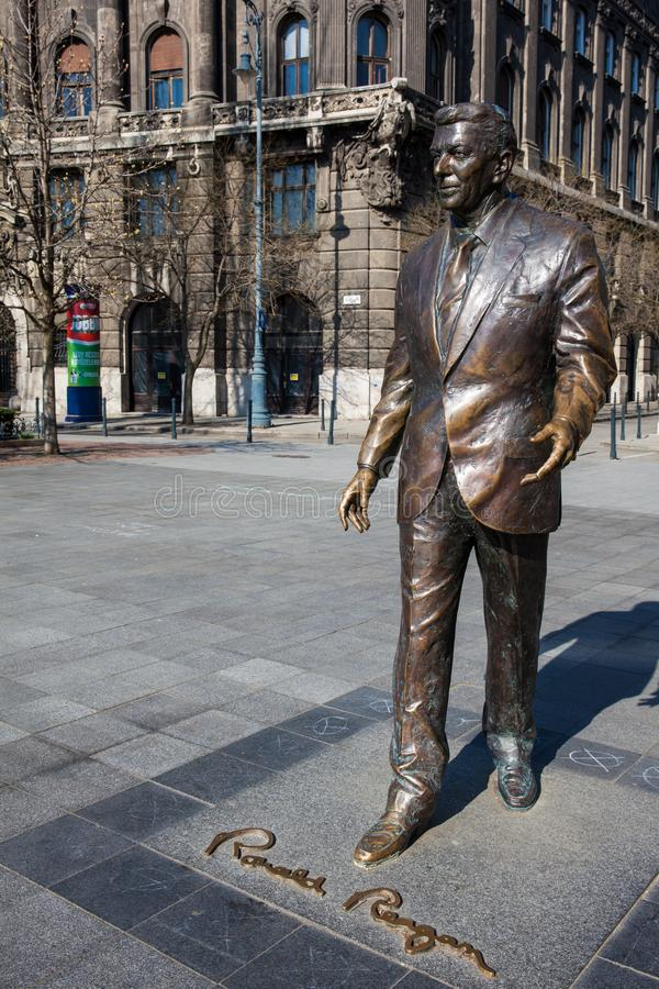 Ronald Reagan monument at Liberty Square in Budapest stock photography