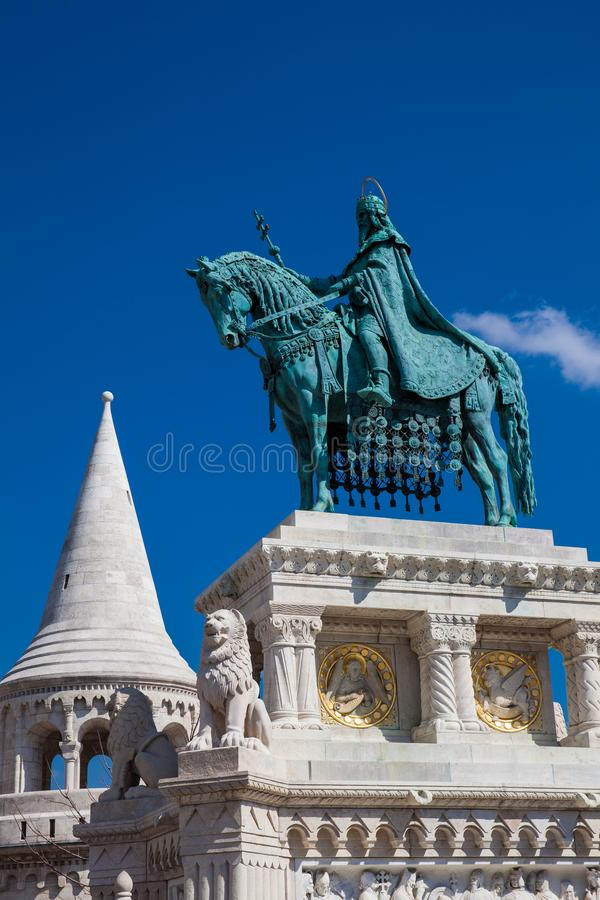 St. Stephen King statue at Fisherman Bastion a terrace located on the Buda bank of the Danube at the Castle hill royalty free stock photo