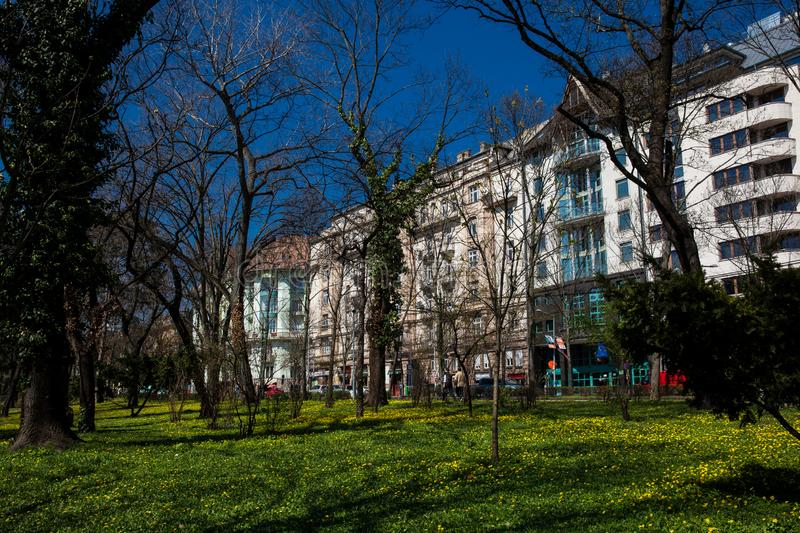 View of a beautiful Budapest street close to the famous antique Coog-wheel railway royalty free stock photography