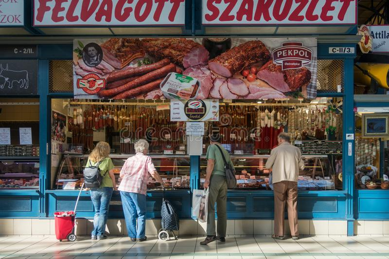 He Cantral Market Hall In Budapest Hungary stock photography