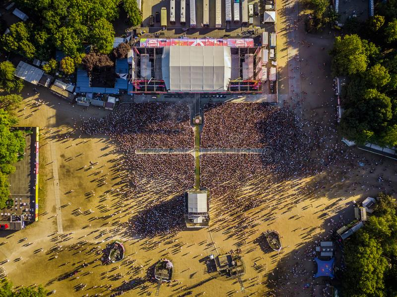 BUDAPEST, HUNGARY - AUGUST 12, 2018: Aerial photograph of the crowd in front of the main stage of the Sziget Festival from above. Sziget Festival is the stock image