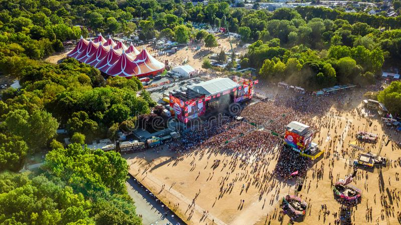 BUDAPEST, HUNGARY - AUGUST 12, 2018: Aerial photograph of the crowd in front of the main stage of the Sziget Festival. At sunset. Sziget Festival is the biggest stock photo