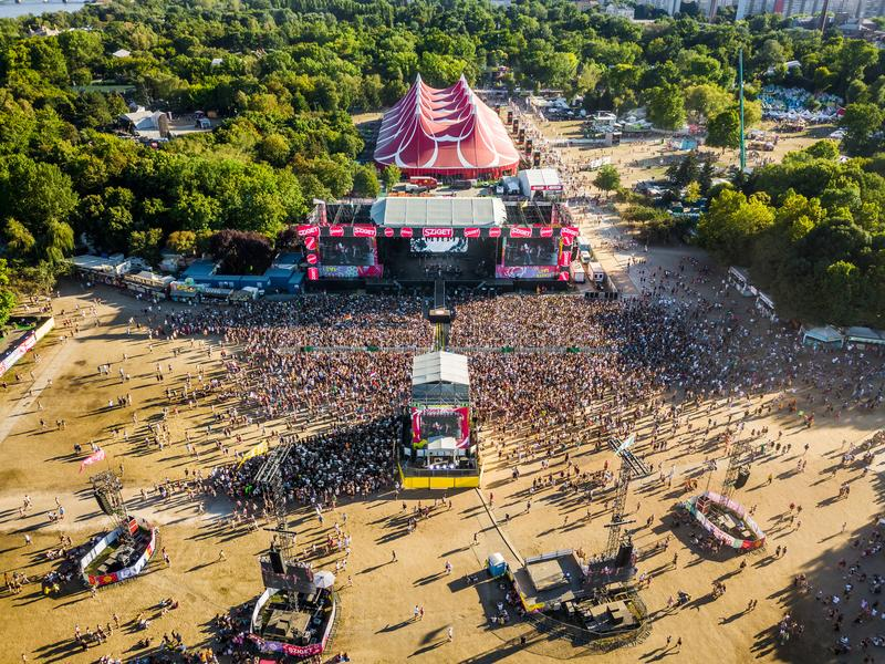 BUDAPEST, HUNGARY - AUGUST 12, 2018: Aerial photograph of the crowd at sunset in front of the main stage of the Sziget Festival. Sziget Festival is the biggest stock images