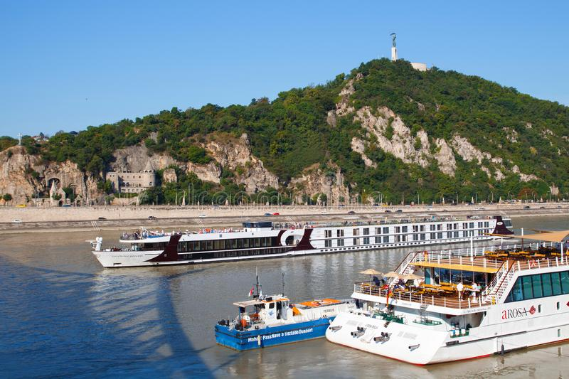 Budapest, Hungary - August 12, 2017: Cruise ship tourists moored in Danube river in Budapest stock photography