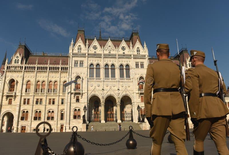 Budapest, Hungari - August 29, 2017: Honorary Guard on Lajos Koshuta Square near Hungarian Parliament Building in Budapest. stock photos