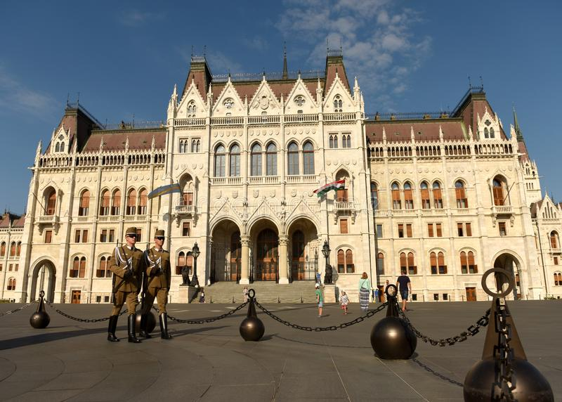 Budapest, Hungari - August 29, 2017: Honorary Guard on Lajos Koshuta Square near Hungarian Parliament Building in Budapest. royalty free stock photo