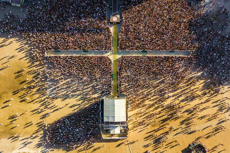 BUDAPEST, HUNGARY - AUGUST 12, 2018: Huge crowd in front of the main stage of the Sziget Festival 2018. From above. Sziget Festival is the biggest music stock images