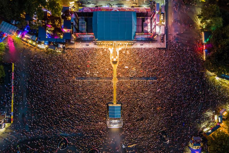 BUDAPEST, HUNGARY - AUGUST 12, 2018: Huge crowd at the main stage of Sziget Festival 2018 by night. Sziget Festival is the biggest music festival in Europe royalty free stock images