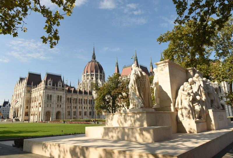 Budapest, Hungary - August 29, 2017: Kossuth Monument and Hungarian Parliament Building, Budapest, Hungari stock images