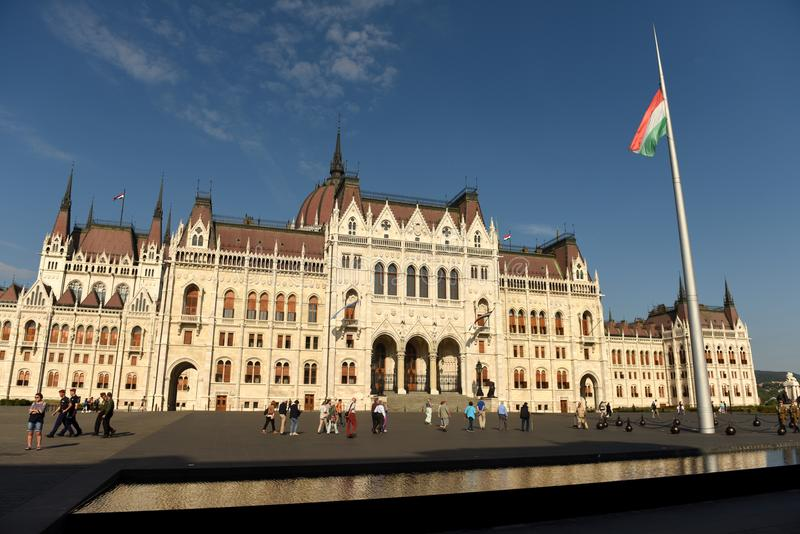 Budapest, Hungary - August 29, 2017: Lajos Koshuta Square and Hungarian Parliament Building in Budapest. stock photography
