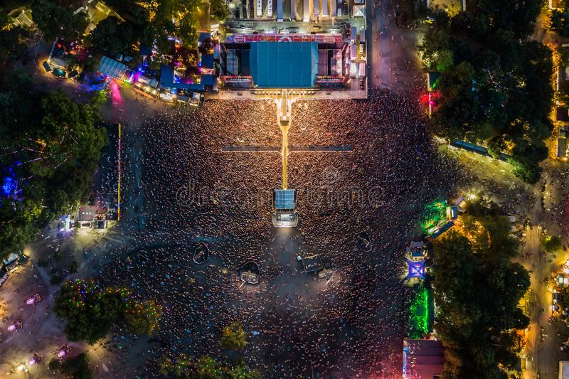 BUDAPEST, HUNGARY - AUGUST 12, 2018: Massive crowd at the main stage of Sziget Festival 2018. By night. Sziget Festival is the biggest music festival in Europe royalty free stock image