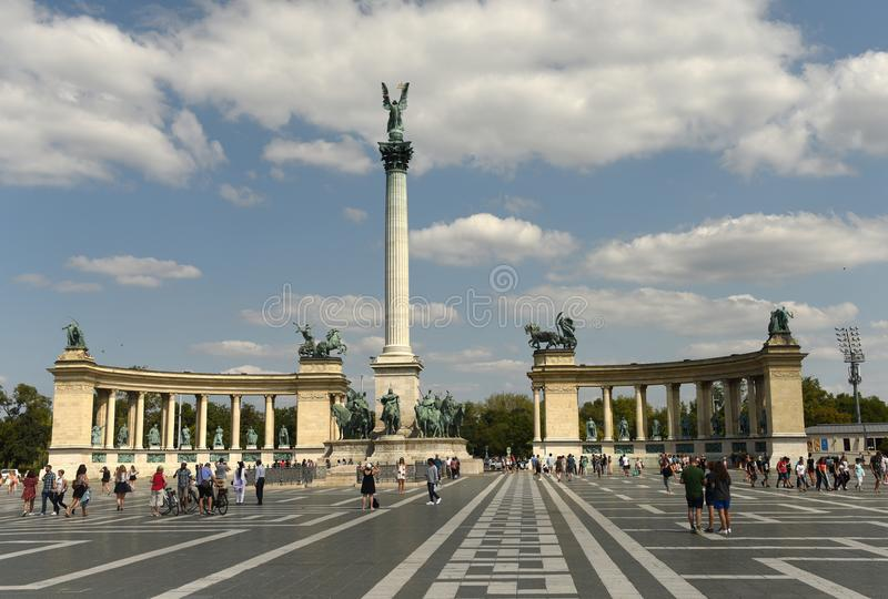 Budapest, Hungary - August 29, 2017: Millennium Monument at Heroes Square in Budapest, Hungary. royalty free stock images