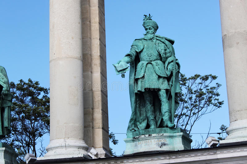 BUDAPEST, HUNGARY - AUGUST 08, 2012: Sculpture of Gabriel Bethlen Vastagh Gyorgy, 1902. royalty free stock photos