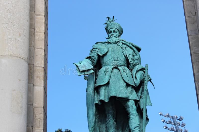 BUDAPEST, HUNGARY - AUGUST 08, 2012: Sculpture of Gabriel Bethlen Vastagh Gyorgy, 1902. Millennium Monument on the Heroes` Square. G. Bethlen was Prince of royalty free stock photography