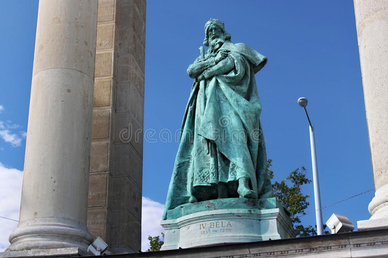 BUDAPEST, HUNGARY - AUGUST 08, 2012: Sculpture of king Bela IV Kollo Miklos, 1905. royalty free stock photography