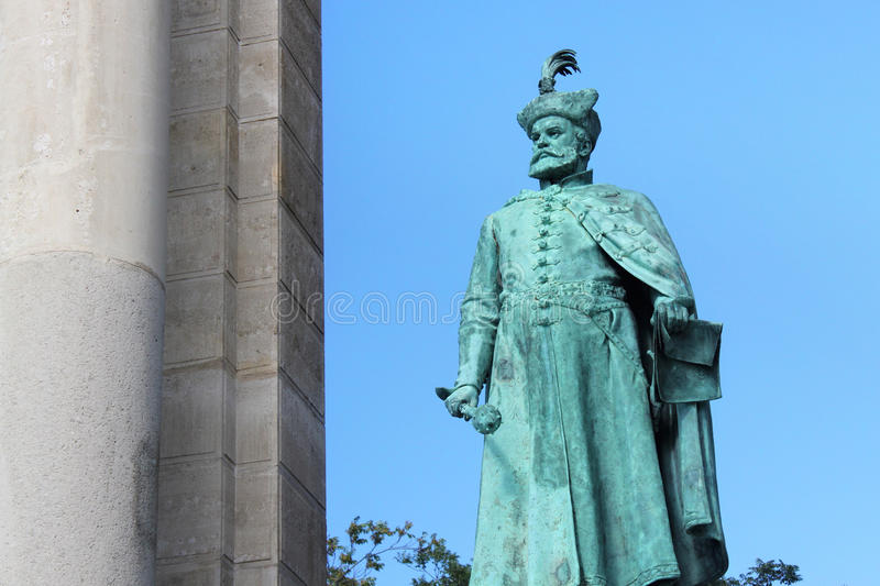 BUDAPEST, HUNGARY - AUGUST 08, 2012: Sculpture of Stephen Bocskai Hollo Barnabas, 1903. royalty free stock photography