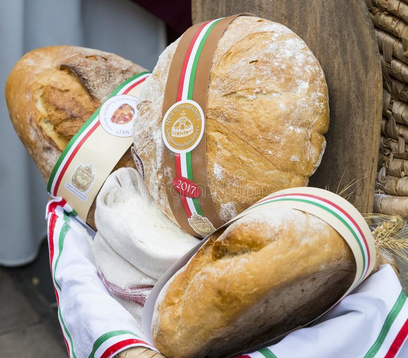 Traditional folk fair in honor of Saint Istvn and the first bread in Hungary with folk masters. Budapest. Hungary. BUDAPEST, HUNGARY - AUGUST 19, 2017 royalty free stock photography