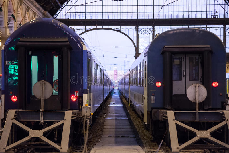 Trains departing from the interior of Budapest Keleti Palyaudvar train station. stock images
