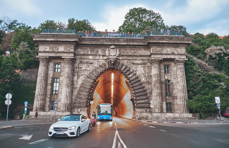 Tunnel under the Castle Hill in Buda. BUDAPEST, HUNGARY - AUGUST 5, 2018:  Tunnel under the Castle Hill in Buda royalty free stock image