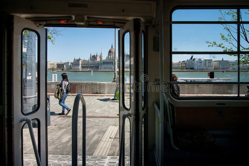 BUDAPEST, HUNGARY - AVRIL 16, 2016: Tram stop in Buda, on background the Danube river stock photo
