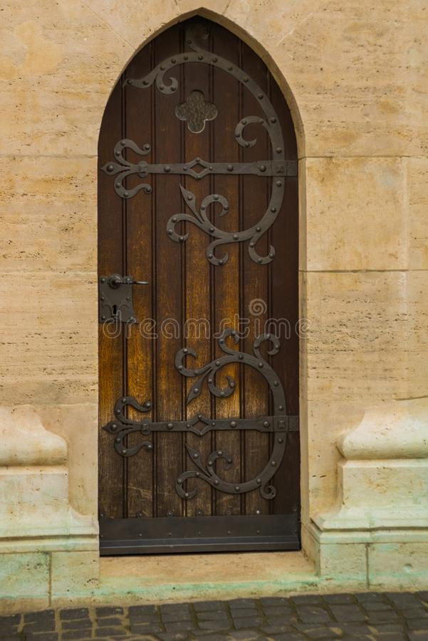 BUDAPEST, HUNGARY: Beautiful door. Matthias Church is a Roman Catholic church located in Budapest stock images