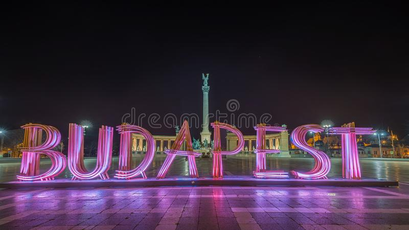 Budapest, Hungary - The beautiful Hero`s Square, Hosok tere or or Millennium Monument by night stock photography