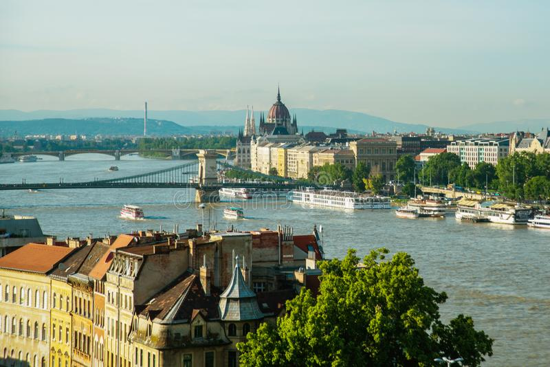 Budapest, Hungary: Chain bridge on Danube river in Budapest city. Hungary. Urban landscape panorama with old buildings stock photo