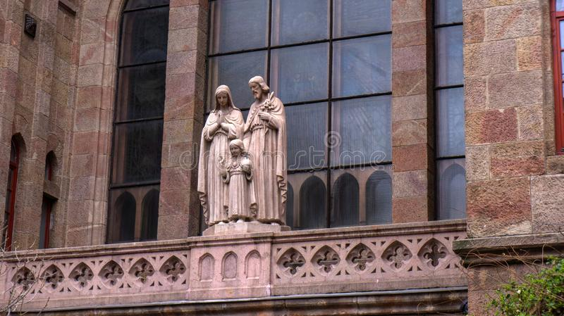 Budapest Hungary 03 15 2019 church detail with statues royalty free stock photo