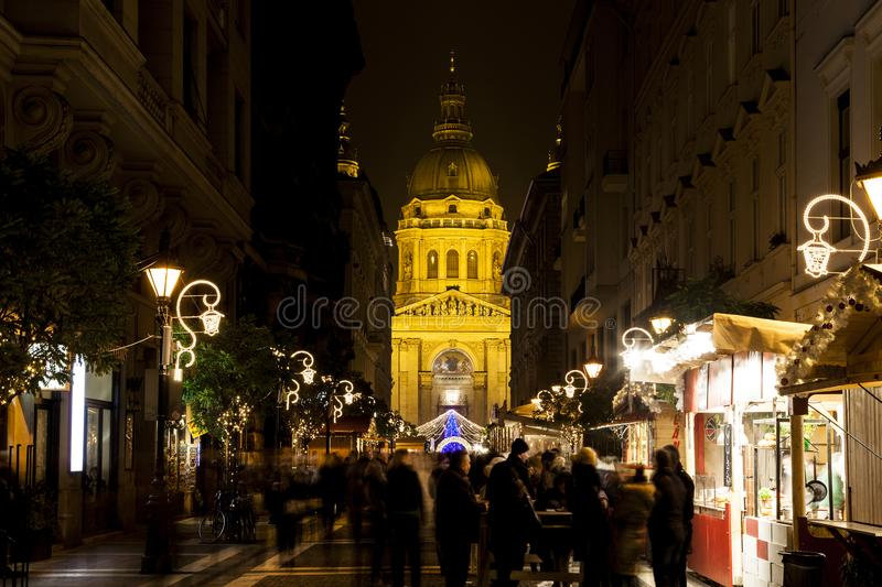 Christmas lights at the St Steven Basilica in Budapest, Hungary. stock photos