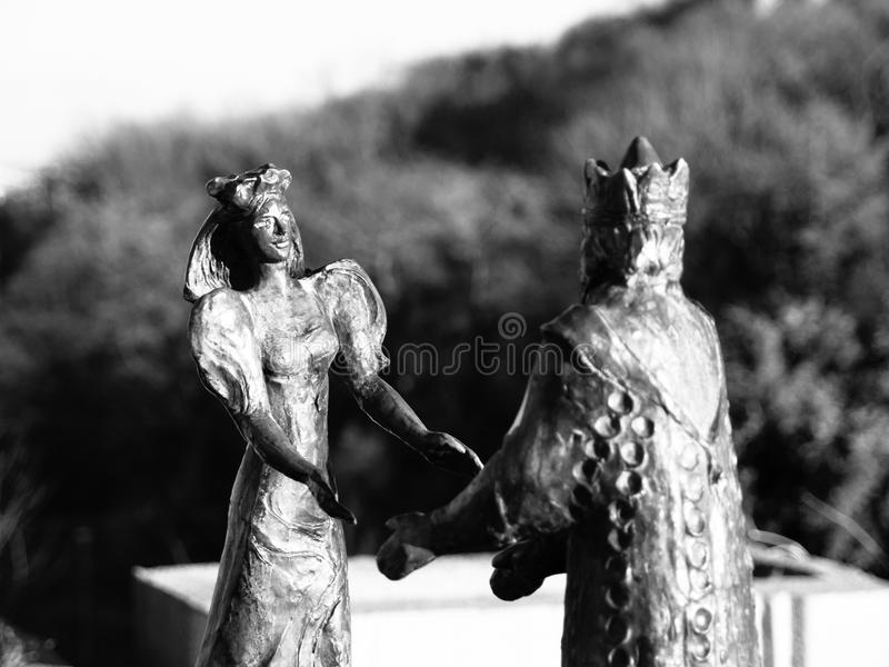BUDAPEST, HUNGARY - DECEMBER 3, 2016: Bronze Statue of King Buda and Queen Pest on Gellert Hill, Budapest, Hungary. stock image