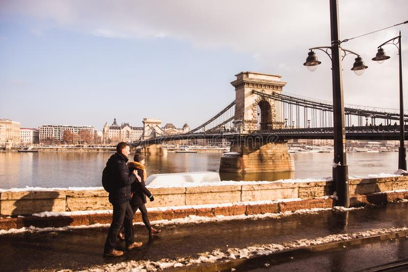BUDAPEST, HUNGARY - 16 DECEMBER, 2018: Chain Bridge from Danube embankment from Buda side in winter in Budapest, Hungary royalty free stock images