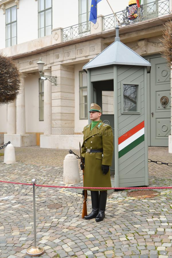 Changing of Ceremonial Elite infantry near Buda Castle in Budapest. BUDAPEST, HUNGARY - DECEMBER 30, 2017: Changing of Ceremonial Elite infantry near Buda Castle stock photos