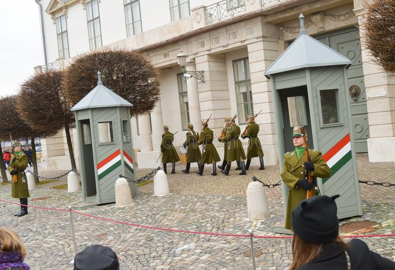 Changing of Ceremonial Elite infantry near Buda Castle in Budapest on December 30, 2017. BUDAPEST, HUNGARY - DECEMBER 30, 2017: Changing of Ceremonial Elite stock images
