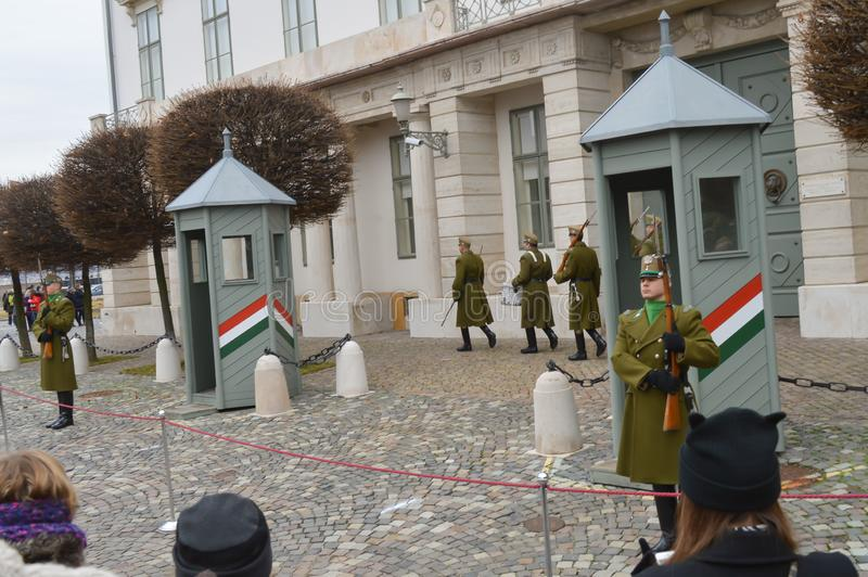 Changing of Ceremonial Elite infantry near Buda Castle in Budapest on December 30, 2017. BUDAPEST, HUNGARY - DECEMBER 30, 2017: Changing of Ceremonial Elite stock photos