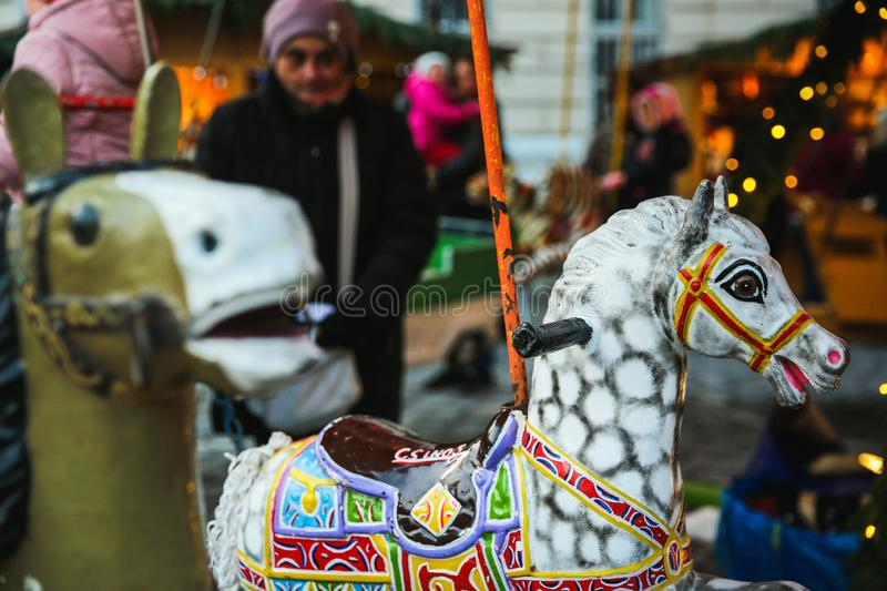 BUDAPEST, HUNGARY - DECEMBER 02, 2017: Christmas Market on the Szentlelek square in Obuda in Budapest, Hungary stock photos