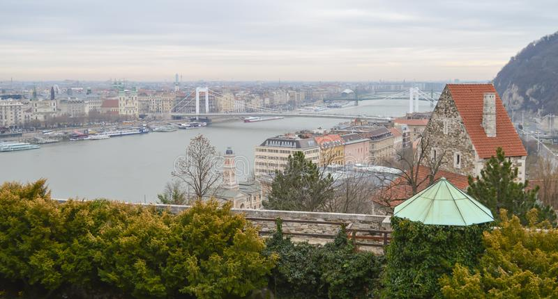 Danube River embankment from Buda castle in Budapest on December 29, 2017. BUDAPEST, HUNGARY - DECEMBER 29, 2017: Danube River embankment from Buda castle in royalty free stock images