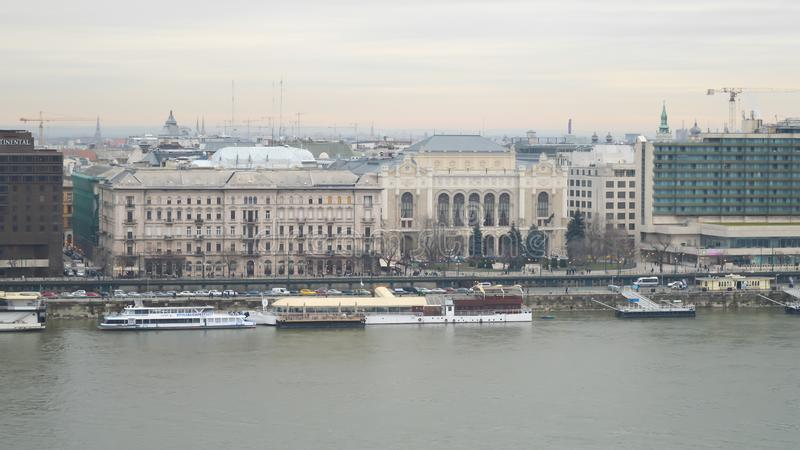 Danube River embankment from Buda castle in Budapest on December 29, 2017. BUDAPEST, HUNGARY - DECEMBER 29, 2017: Danube River embankment from Buda castle in royalty free stock image
