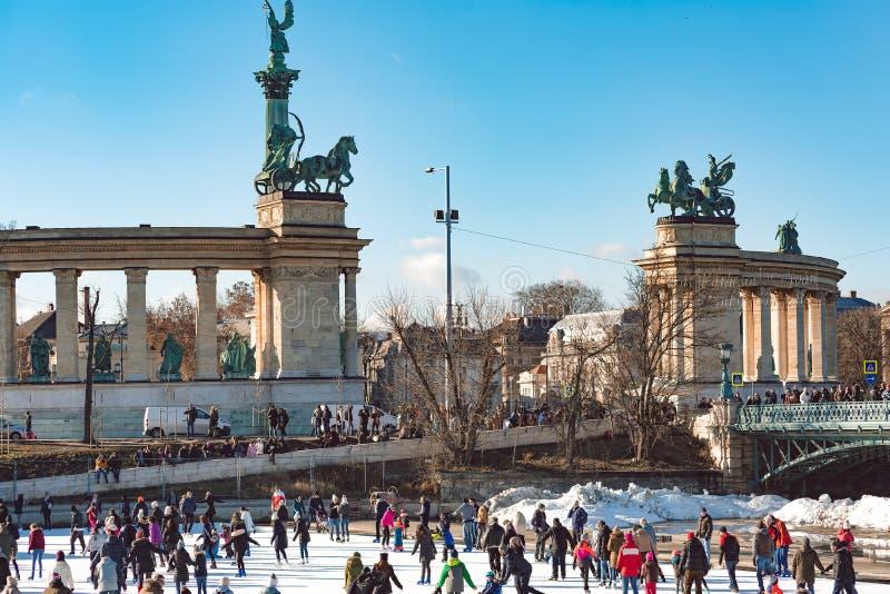 BUDAPEST, HUNGARY - December 29, 2018: Ice-skating at Varosliget city park in Budapest royalty free stock images