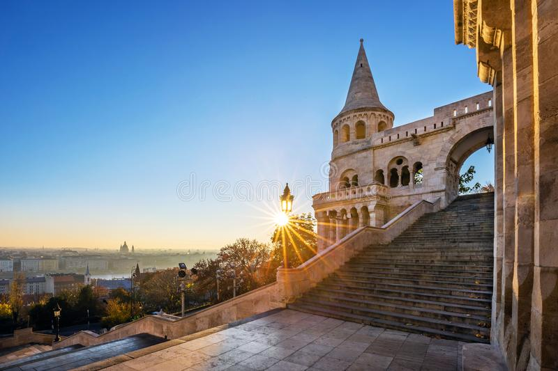 Budapest, Hungary - Entrance steps and the south tower of the Fisherman`s Bastion Halaszbastya at sunrise. And clear blue sky royalty free stock photos