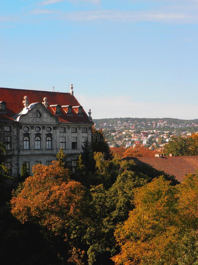 Budapest, Hungary. Europe, forest, city, town, fall, trees, building, architecture stock photo